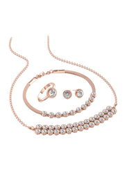 4-Pieces Rose Gold Plated Brass Jewellery Set for Women, with Necklace, Bracelet, Ring and Earring, Crystal Stones, Rose Gold