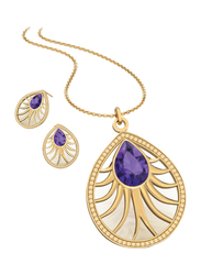 2-Piece 18K Gold Plated Brass Tear Drop Pendant Jewellery Set for Women, with Necklace and Earring, with Cubic Zirconia Stones, Gold/Violet