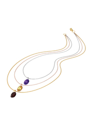18K Brass Trio Color Layered Necklace for Women, with Cubic Zirconia Stones, Multicolor