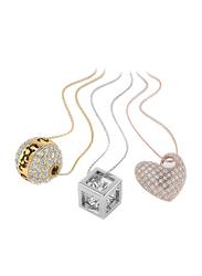 3-Piece Brass Chain Necklace Set for Women, Multicolor