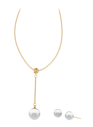 2-Piece Stainless Steel 18K Gold Plated Jewellery Set for Women, with Necklace and Earrings with Faux Pearl, Gold/White