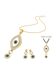 2-Piece 24K Gold Plated Brass Eye Jewellery Set for Women, Necklace and Earring, with Free Black Silk Cord, Gold