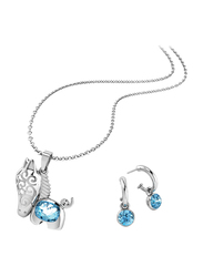 2-Piece Silver Plated Brass Pony Jewellery Set for Women, with Necklace and Earrings with Cubic Zirconia Stones, Silver/Blue