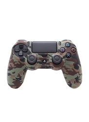 Generic Skin Controller Game Silicone Protective Case Cover for PS4, Green Camouflage