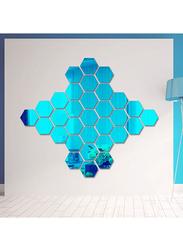 3D Hexagon Mirror Decal Wall Sticker Set, 12-Piece, Blue