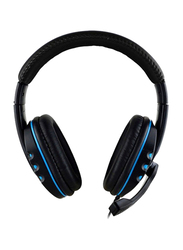 3.5mm Jack On-Ear Gaming Headphones with Mic, Black/Blue