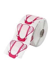 G2plus 500 Piece Nail Art Guide Sticker Roll, White/Pink