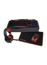 Meetion USB Keyboard Game Console Combo Set for PC, Orange/Black