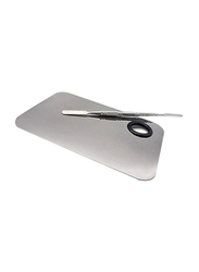 Lautechco Stainless Steel Makeup Mixer Plate with Spatula Tool, Silver