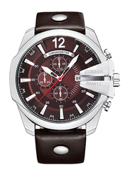 Curren Analog Watch for Men with Leather Band, Chronograph and Water Resistant, 8176, Brown