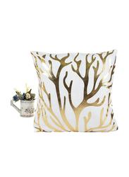Decorative Cushion Pillow Case Cover, 1-Piece, White/Gold