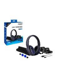 Dobe 5-in-1 Game Pack for PlayStation PS4 Series, Black