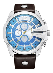 Curren Analog Watch for Men with Leather Band, Chronograph and Water Resistant, 8176, Brown-Blue