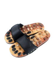 Shasshka Natural Stone Acupuncture Therapy Massage Foot Slipper, Brown/Black, 1 Pair