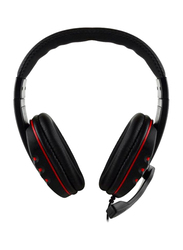 3.5mm Jack On-Ear Gaming Headphones with Mic, Black/Red