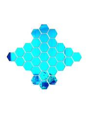 12-Piece 3D Hexagon Mirror Decal Wall Sticker Set, 8cm, Blue
