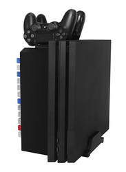 Dobe Multifunctional Storage Stand Kit for PS4 Game Discs Controllers with Dual Controller Charging Dock, Black