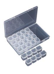Plastic 28 Slots Nail Art Tools Jewellery Display Storage Box Case Organizer, 20 x 10 x 20cm, Clear