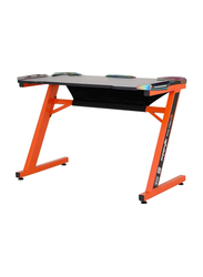 Meetion MT-DSK10 Z-Shaped Gaming Computer Table, Orange/Black