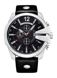 Curren Analog Watch for Men with Leather Band, Chronograph and Water Resistant, 8176, Black