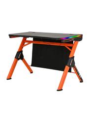 Meetion MT-DSK20 Computer Gaming Desk with LED Light, Orange/Black