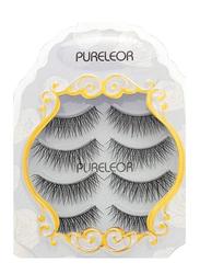 Pureleor 3D Wispies False Eyelashes, 4 Pair, Black