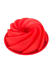 Big Swirl Shape Silicone Butter Cake Mould Red, 24x9 cm, Red