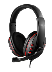 3.5mm Jack Over-Ear Gaming Headphones with Mic, Black/Red