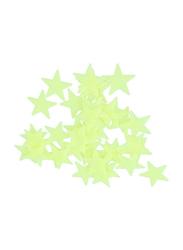 100-Piece 3D Stars Luminous Fluorescent Plastic Wall Sticker Set, Green
