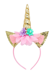 Unicorn Design Cute Hairband, Pink/Gold