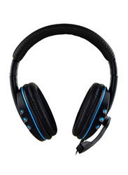 3.5mm Jack Over-Ear Gaming Headphones with Mic, Black/Blue