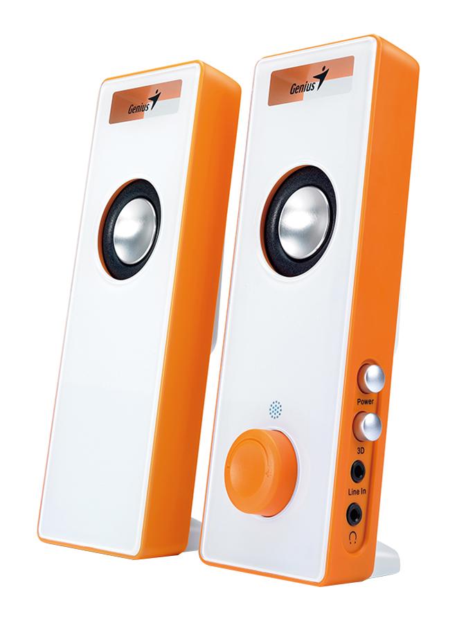 Genius SP-I220 Slim Speaker With 3D Surround USB Speaker 6 Watts, Orange White