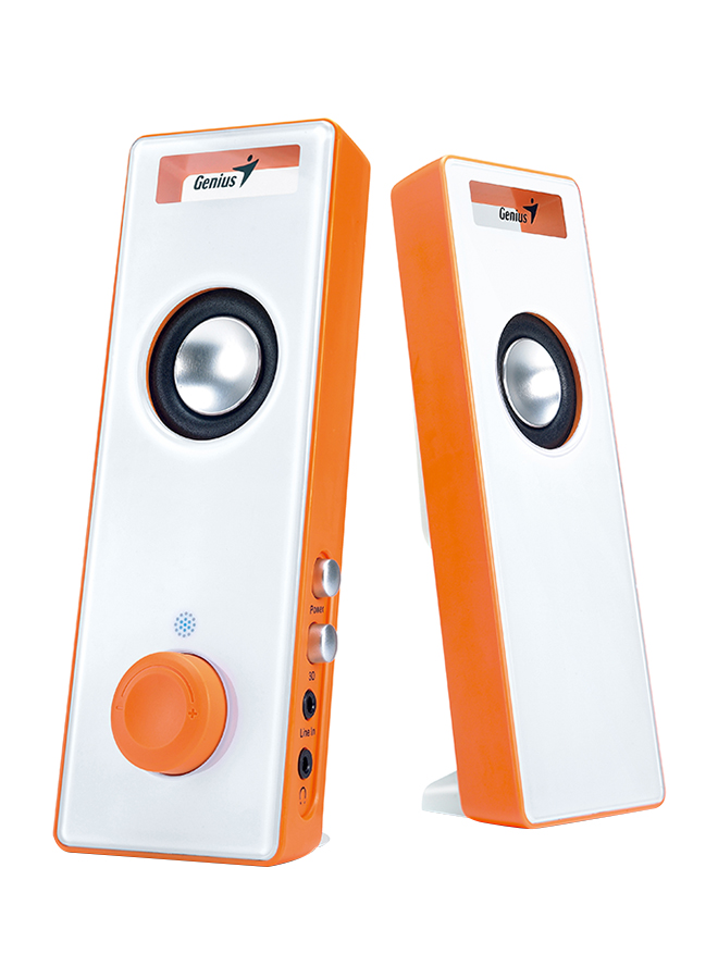 Genius SP-I220 Slim Speaker With 3D Surround USB Speaker 6 Watts, Orange White