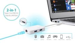 Edimax USB-C to 3-Port USB 3.0 Gigabit Ethernet Hub EDEU-4308, White