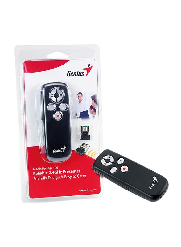 Genius Media Pointer 100 Smart 2.4GHz Presenter, Black