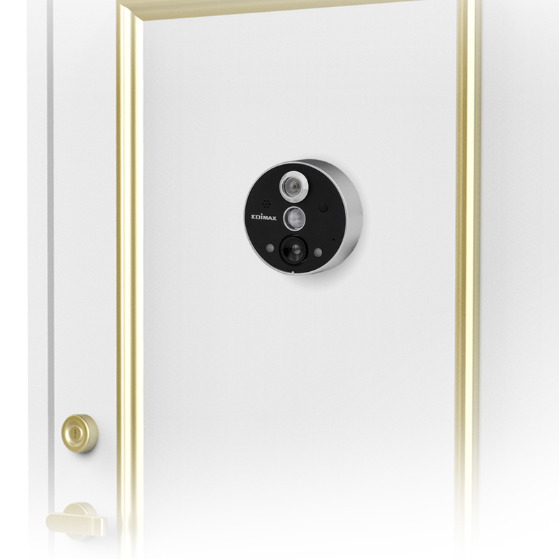 Edimax IC-6220DC-UK Smart Wireless Peephole Door Camera, Black