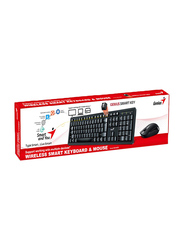 Genius Smart KM-8200 Wired English/Arabic Keyboard and Mouse, Black