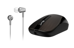 Genius MH-8015 Mouse & Headset Combo, Smart Eco Mobility Hairline Luxury Metallic Rechargeble and High Quality Headset With Smart Genius App, Iron Grey