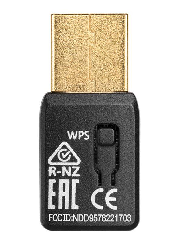 Edimax AC1200 Dual Band 11AC Wave 2 Mu-Mimo Wireless USB 3.0 Adapter, EW-7822UTC, Black