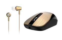 Genius MH-8015 Mouse & Headset Combo, Smart Eco Mobility Hairline Luxury Metallic Rechargeble and High Quality Headset With Smart Genius App, Gold
