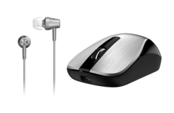 Genius MH-8015 Mouse & Headset Combo, Smart Eco Mobility Hairline Luxury Metallic Rechargeble and High Quality Headset With Smart Genius App, Silver