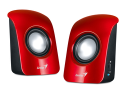 Genius SP-U115 Stereo USB Powered 2.0 Speakers with 1.5W Output and 3.5mm Audio Plug, Red