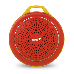 Genius Bluetooth Speaker Sp-906Bt, 5 Hours Play Time, 500Mah Battery With Carabiner for Mobile Phones, Red