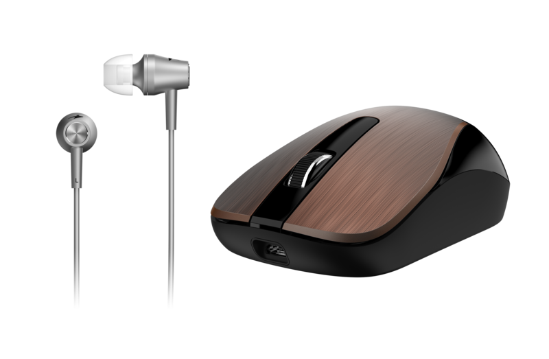Genius MH-8015 Mouse & Headset Combo, Smart Eco Mobility Hairline Luxury Metallic Rechargeble and High Quality Headset With Smart Genius App, Coffee