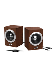 Genius SP-HF280 USB Wooden Stereo Speakers, Brown