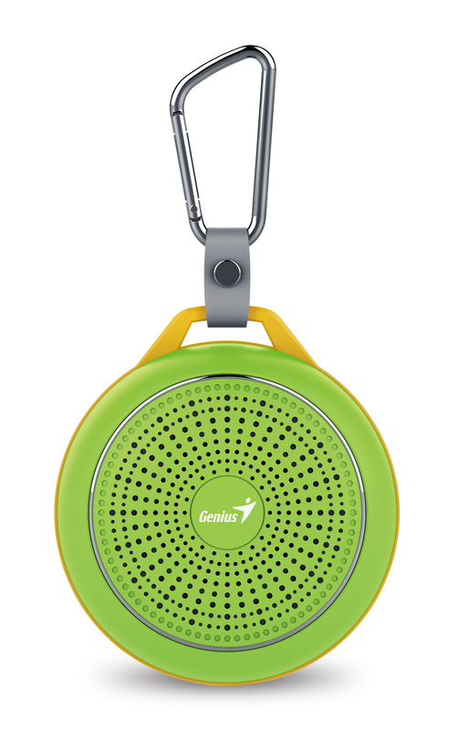 Genius Bluetooth Speaker Sp-906Bt, 5 Hours Play Time, 500Mah Battery With Carabiner for Mobile Phones, Fresh Green