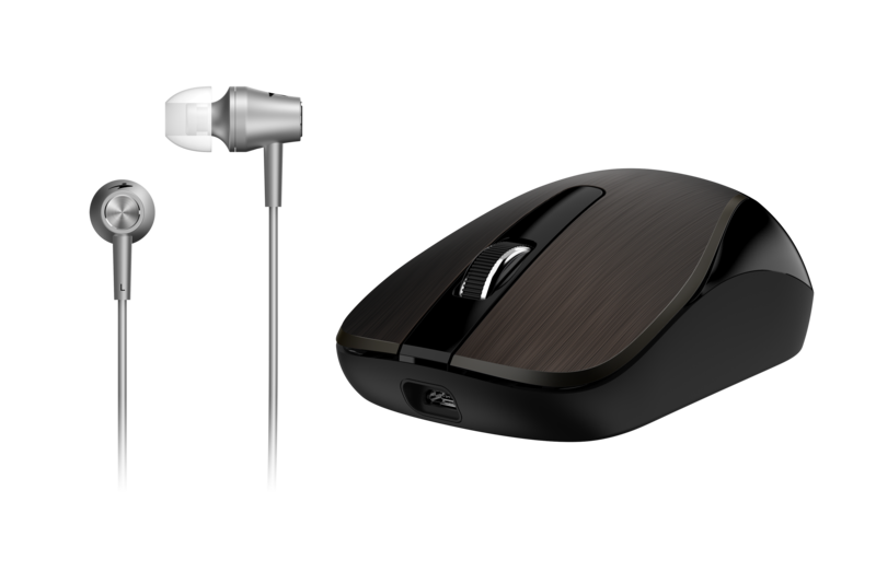 Genius MH-8015 Mouse & Headset Combo, Smart Eco Mobility Hairline Luxury Metallic Rechargeble and High Quality Headset With Smart Genius App, Chocolate