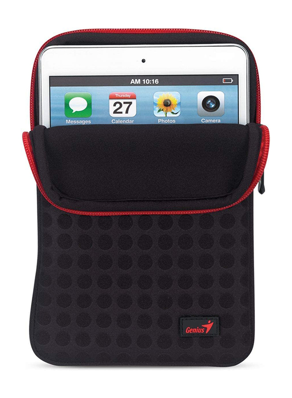 Genius Tablet PC 7-inch Polyester Portable Bubble Sleeve Bag, GS-721, Black/Red