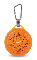 Genius Bluetooth Speaker Sp-906Bt, 5 Hours Play Time, 500Mah Battery With Carabiner for Mobile Phones, Bold Orange