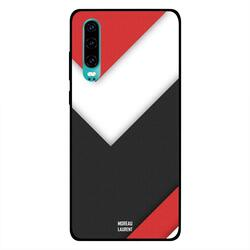 Moreau Laurent Huawei P30 Mobile Phone Back Cover, Red White Black Texture
